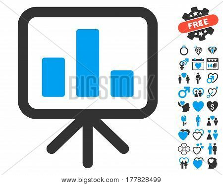 Bar Chart Display pictograph with bonus marriage icon set. Vector illustration style is flat iconic blue and gray symbols on white background.