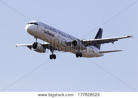 Borispol, Ukraine - March 22, 2017: Lufthansa Airbus A321-100 aircraft on final approach to Borispol International Airport on March 22, 2017. Editorial use only