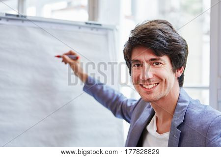 Successful businessman with pen in a presentation with whiteboard