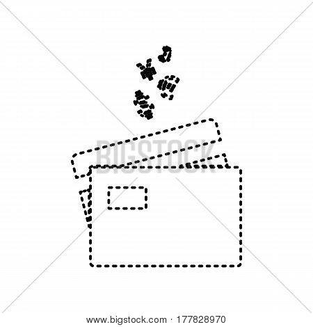 Credit cards sign with currency symbols. Vector. Black dashed icon on white background. Isolated.