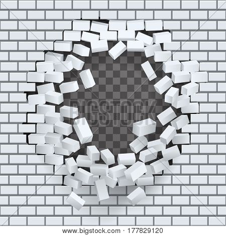Break hole brick wall destruction template transparent background vector illustration