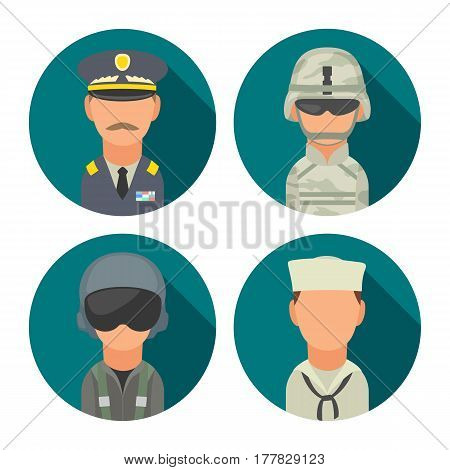 Set icon character military people. Soldier, officer, pilot, marine, sailor. Vector flat illustration on turquoise circle