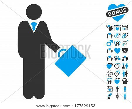 Businessman icon with bonus romantic symbols. Vector illustration style is flat iconic blue and gray symbols on white background.