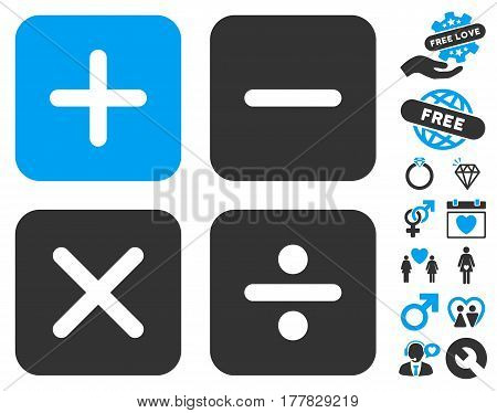 Calculator icon with bonus decorative pictograph collection. Vector illustration style is flat iconic blue and gray symbols on white background.