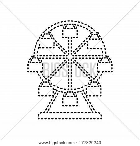 Ferris wheel sign. Vector. Black dashed icon on white background. Isolated.