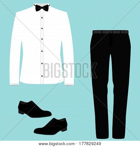 Wedding men's suit with shoes tuxedo. Collection. Vector illustration.