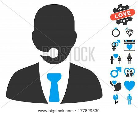 Call Center Manager pictograph with bonus passion pictures. Vector illustration style is flat iconic blue and gray symbols on white background.