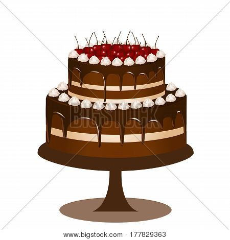 Wedding cake with red cherries. Cake with cream. Vector illustration.