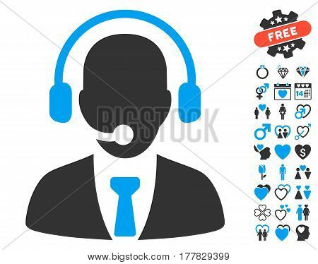 Call Center pictograph with bonus decorative pictograph collection. Vector illustration style is flat iconic blue and gray symbols on white background.