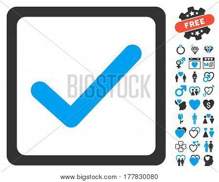 Checkbox icon with bonus decoration symbols. Vector illustration style is flat iconic blue and gray symbols on white background.