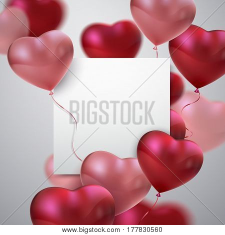 Balloon Hearts. Vector holiday illustration of flying red and pink balloon hearts and paper banner. Happy Valentines Day. Festive wedding decoration. Invitation or congratulation design template.