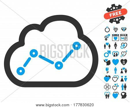 Cloud Trend pictograph with bonus dating symbols. Vector illustration style is flat iconic blue and gray symbols on white background.