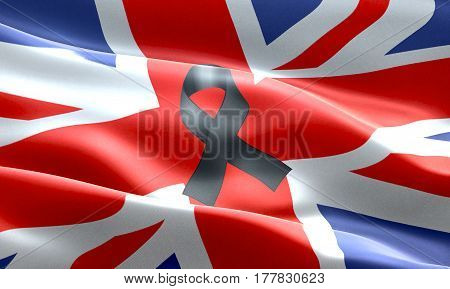 pray for uk waving united kingdom country flag color background with black ribbon victims in great britain england 3D illustration