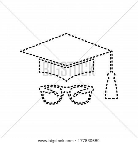 Mortar Board or Graduation Cap with glass. Vector. Black dashed icon on white background. Isolated.