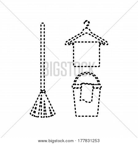 Broom, bucket and hanger sign. Vector. Black dashed icon on white background. Isolated.