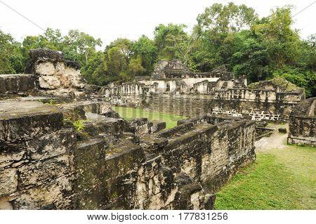 Tikal, Guatemala - 28 January 2014: The Mayan ruins of Tikal on Guatemala
