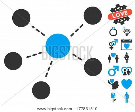 Connections pictograph with bonus passion pictograph collection. Vector illustration style is flat iconic blue and gray symbols on white background.