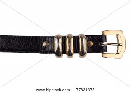 detail of female black leather belt isolated on white background