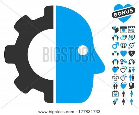 Cyborg pictograph with bonus romantic pictograph collection. Vector illustration style is flat iconic blue and gray symbols on white background.