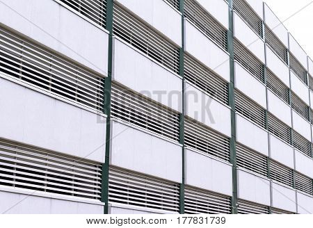 perspective view of multilevel parking building exterior