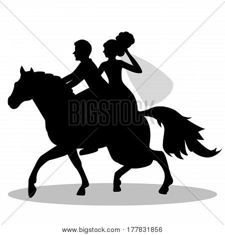 The bride and groom on a horse. Bride and groom. Isolated object on a white background. Vector illustration.