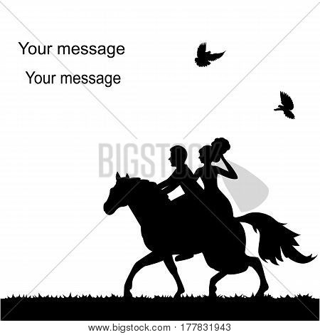 Wedding card with a bride and groom on a horse. Bride and groom. Also suitable for invitation card. Vector illustration.