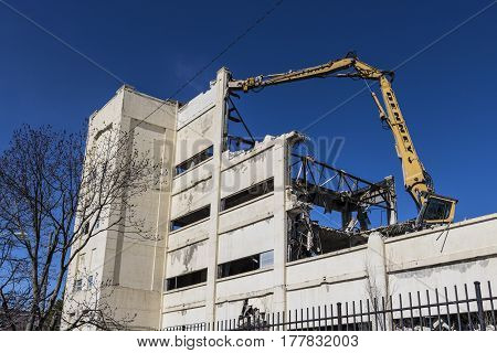 Indianapolis - Circa March 2017: Former RCA Manufacturing Factory being razed as part of the Demolition and Blight Reduction Project III