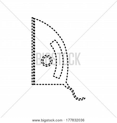 Iron sign. Vector. Black dashed icon on white background. Isolated.