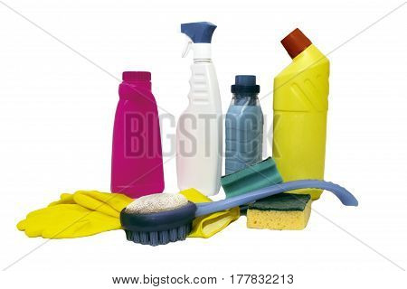 set of cleaning products for home cleaning isolated on white background