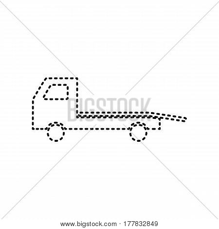Service of evacuation sign. Wrecking car side. Car evacuator. Vehicle towing. Vector. Black dashed icon on white background. Isolated.