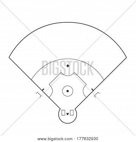 Baseball field markup isolated on white background