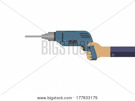 Hand with drill isolated over white background