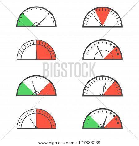 Tachometer speedometer sensor icon set. Vector illustration