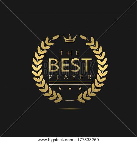 The Best player label. Golden laurel wreath
