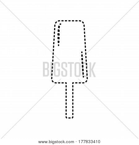 Ice Cream sign. Vector. Black dashed icon on white background. Isolated.