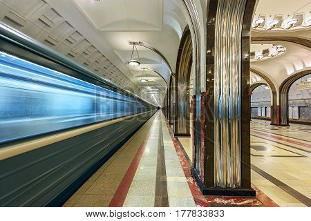 MOSCOW/ RUSSIA - MARCH 11, 2017. Metro station Mayakovskaya, opened 1938. Moscow, Russia