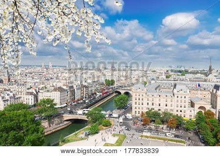 skyline of Paris city at sunny spring day, France