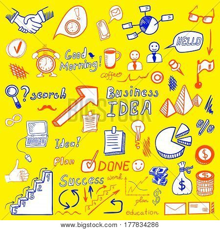 Big set od business doodles, red and blue hand drawn icons on yellow background.