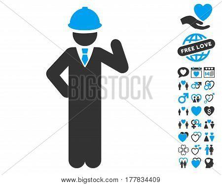 Engineer icon with bonus decoration design elements. Vector illustration style is flat iconic blue and gray symbols on white background.