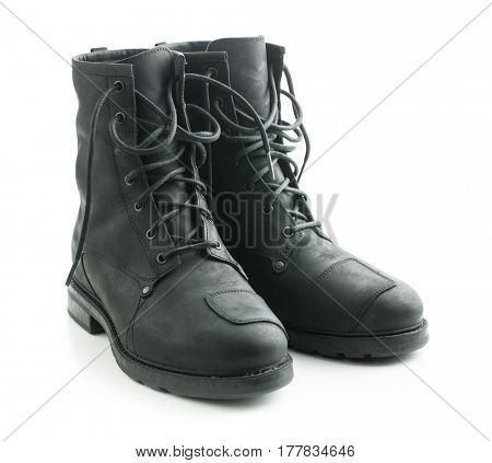 Motorcycle leather boots isolated on white background.