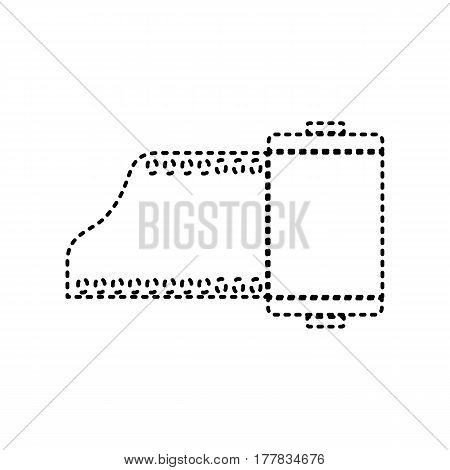 Foto camera casset sign. Vector. Black dashed icon on white background. Isolated.