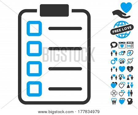 Examination pictograph with bonus passion pictograms. Vector illustration style is flat iconic blue and gray symbols on white background.