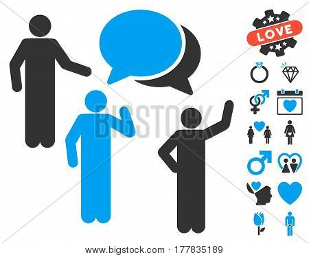 Forum icon with bonus passion pictograms. Vector illustration style is flat iconic blue and gray symbols on white background.