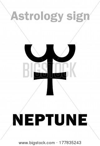 Astrology Alphabet: NEPTUNE, planet. Hieroglyphics character sign (single symbol).