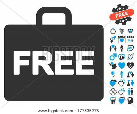Free Accounting icon with bonus valentine symbols. Vector illustration style is flat iconic blue and gray symbols on white background.