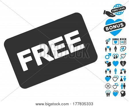 Free Card pictograph with bonus valentine design elements. Vector illustration style is flat iconic blue and gray symbols on white background.