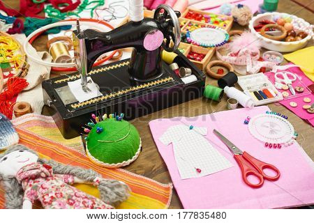 sewing accessories top view, seamstress workplace, many object for needlework and handicraft