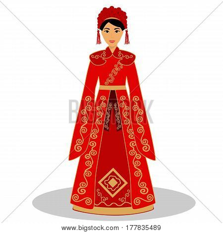 Traditional Chinese bride. Bride in wedding dress. Vector illustration.