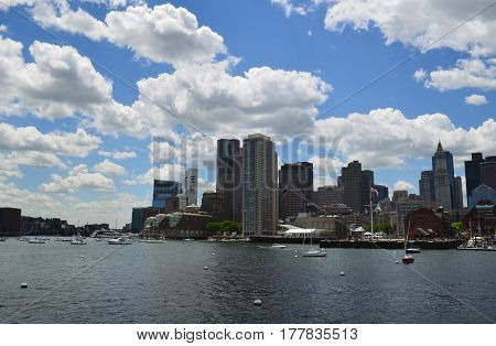 A cityscape of the City of Boston on a summer day.