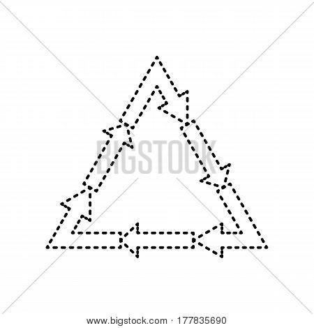 Plastic recycling symbol PVC 3 , Plastic recycling code PVC 3. Vector. Black dashed icon on white background. Isolated.